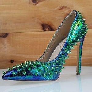"""Shayla Mermaid Green Spiky Stud 4.75"""" Heel Pump"""